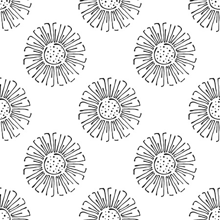 stroking: Vector floral illustration. Seamless pattern with flowers on the white background. Hand drawn contour lines and strokes. Doodle style, graphic vector illustration Illustration