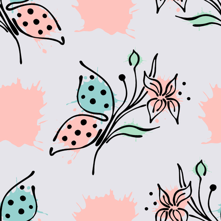 Vector seamless floral pattern with butterfly flowers, leaves, decorative elements, splash, blots, drop Hand drawn contour lines and strokes Doodle sketch style, graphic vector drawing illustration Illustration