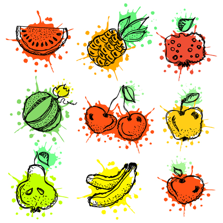 Vector hand drawn fruits illustration of cherry, watermelon, banana, pomegranate, pineapple, apple, pear, berry with splash and drop Line drawing, Series of Artistic drawing vector Illustration. Illustration