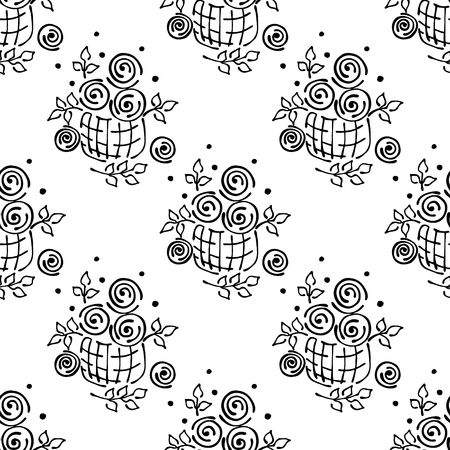peon: Vector floral illustration. Seamless pattern, Basket with flowers, leaves, decorative elements on the white background. Hand drawn contour lines and strokes. Doodle style, graphic vector illustration