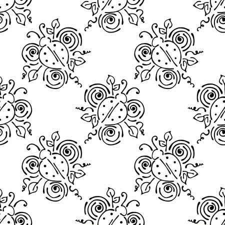 stroking: Vector floral illustration with insect . Black and white seamless pattern with Ladybug with flowers, leaves, decorative elements Hand drawn contour lines and strokes Doodle style, graphic illustration