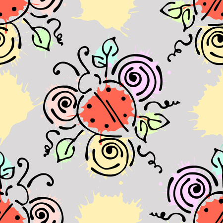 peon: Vector seamless pattern with insect Ladybugs with flowers, leaves, decorative elements, splash, blots, drop Hand drawn contour lines and strokes Doodle style, graphic vector drawing illustration