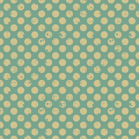 Seamless vector dotted pattern. Green geometric background with circles. Grunge texture with attrition, cracks and ambrosia. Old style vintage design. Graphic illustration.
