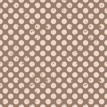 attrition: Seamless vector dotted pattern. Brown geometric background with circles. Grunge texture with attrition, cracks and ambrosia. Old style vintage design. Graphic illustration. Illustration
