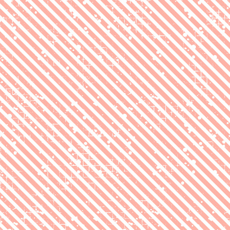 Seamless vector striped pattern. Pink geometric background with diagonal lines. Grunge texture with attrition, cracks and ambrosia. Old style vintage design. Graphic illustration.