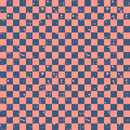 Seamless vector pattern. Red geometric checkered brown background with squares. Grunge texture with attrition, cracks and ambrosia. Old style vintage design. Graphic illustration.