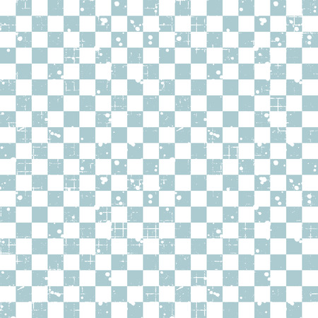 Seamless vector pattern. Blue geometric checkered brown background with squares. Grunge texture with attrition, cracks and ambrosia. Old style vintage design. Graphic illustration.