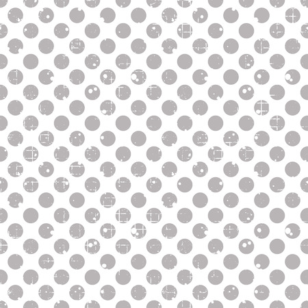 attrition: Seamless vector dotted pattern. Grey geometric background with circles. Grunge texture with attrition, cracks and ambrosia. Old style vintage design. Graphic illustration. Illustration