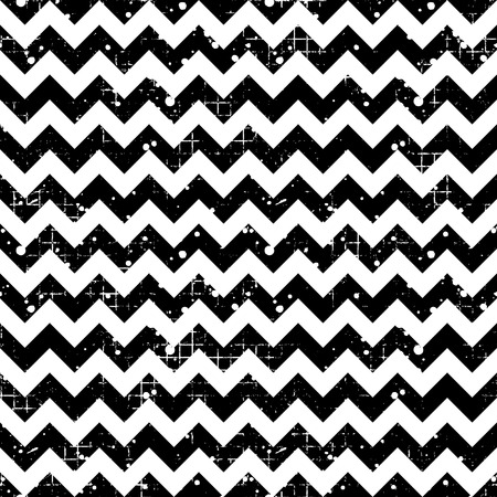 crankle: Seamless vector striped pattern. Black and white geometric background with zigzag. Grunge texture with attrition, cracks and ambrosia. Old style vintage design. Graphic illustration.