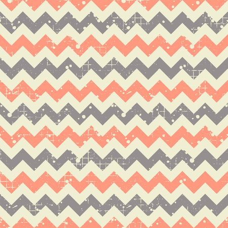 Seamless vector striped pattern. Blue and red geometric background with zigzag. Grunge texture with attrition, cracks and ambrosia. Old style vintage design. Graphic illustration.