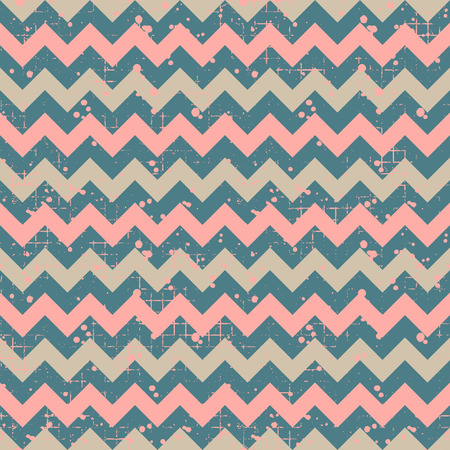 Seamless vector striped pattern. Blue and pink geometric background with zigzag. Grunge texture with attrition, cracks and ambrosia. Old style vintage design. Graphic illustration.