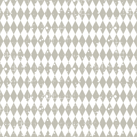 attrition: Seamless vector pattern. Grey geometric checkered background with rhombus. Grunge texture with attrition, cracks and ambrosia. Old style vintage design. Graphic illustration. Illustration