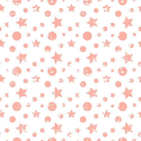 attrition: Seamless vector pattern. geometric background with stars, dots, circles. Grunge texture with attrition, cracks and ambrosia. Old style vintage design. Graphic illustration.