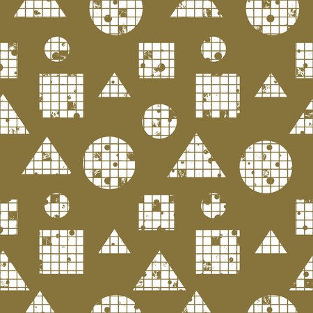 Seamless vector abstract pattern. geometric background with circles, squares, triangles. Grunge texture with attrition, cracks and ambrosia. Old style vintage design. Graphic illustration.