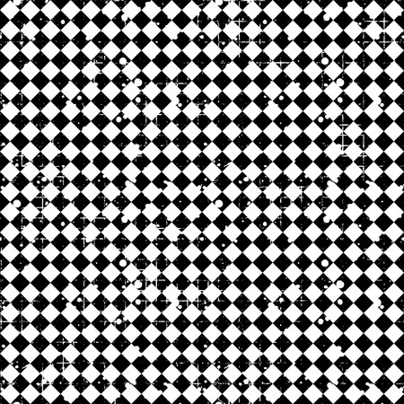 attrition: Seamless vector pattern. Black and white geometric checkered background with rhombus. Grunge texture with attrition, cracks and ambrosia. Old style vintage design. Graphic illustration.