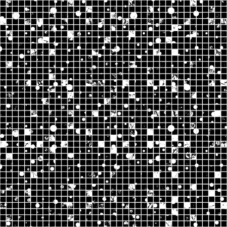 attrition: Seamless vector texture. Black and white Grunge checkered background with dots, attrition, cracks. Old style abstract vintage design. Graphic illustration. Series of Grunge Old Seamless Patterns. Illustration