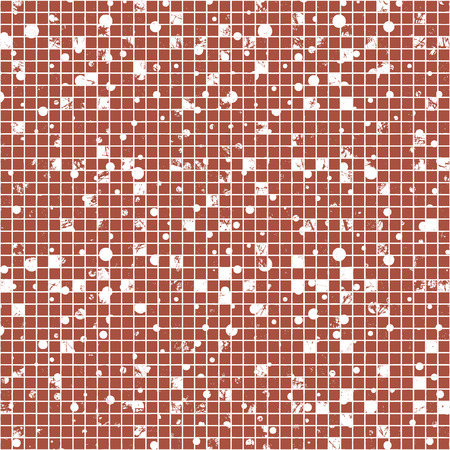 attrition: Seamless vector texture. Grunge checkered background with dots, attrition, cracks. Old style abstract vintage design. Graphic illustration. Series of Grunge Old Seamless Patterns. Illustration