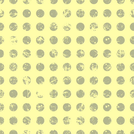 Seamless vector dotted pattern. Beige geometric background with circles. Grunge texture with attrition, cracks and ambrosia. Old style vintage design. Graphic illustration. Vektoros illusztráció