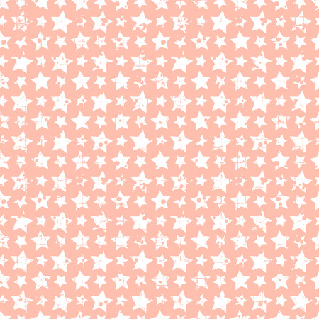 attrition: Seamless vector pattern. Pink geometric background with stars Grunge texture with attrition, cracks and ambrosia. Old style vintage design. Graphic illustration. Illustration