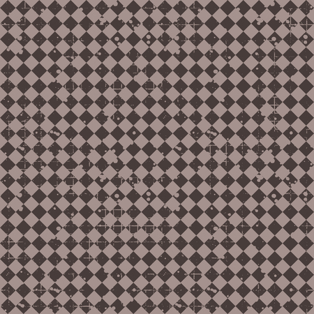 Seamless vector pattern. geometric checkered background with rhombus. Grunge texture with attrition, cracks and ambrosia. Old style vintage design. Graphic illustration.