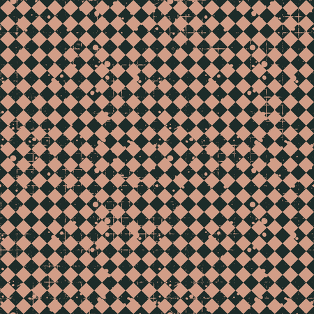 attrition: Seamless vector pattern. brown geometric checkered background with rhombus. Grunge texture with attrition, cracks and ambrosia. Old style vintage design. Graphic illustration.