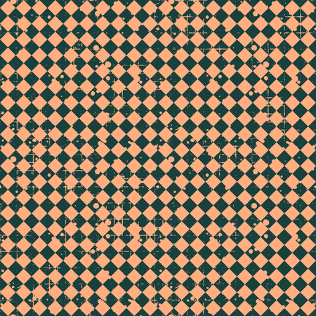 Seamless vector pattern. brown geometric checkered background with rhombus. Grunge texture with attrition, cracks and ambrosia. Old style vintage design. Graphic illustration.