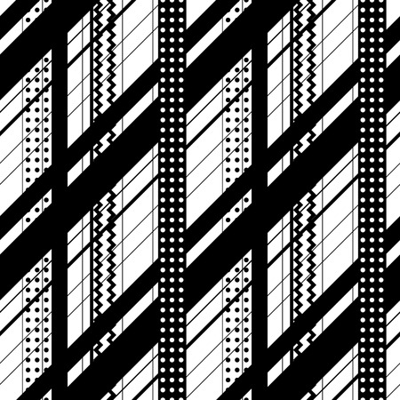 on white: Seamless vector geometrical pattern. Black and white Endless background with lines, dots, stripes, zig zag, diagonal. Graphic illustration. Print for cover, fabric, wrapping, web background. Illustration