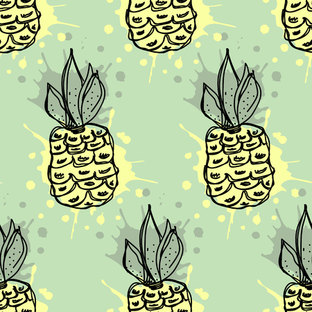 pine apple: Seamless vector pattern. Hand drawn fruits illustration of colorful pineapple with splash and drop, on the green background. Line drawing, Series of fruits vector seamless Patterns.
