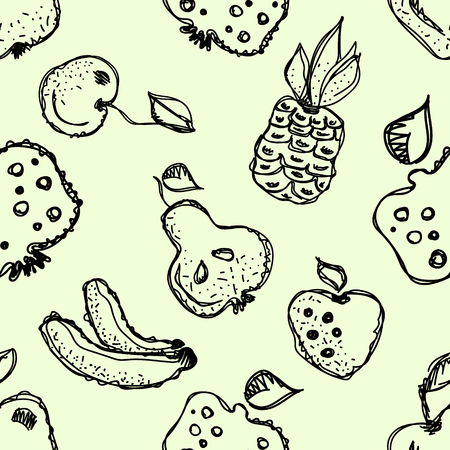 pine apple: Seamless vector pattern. Hand drawn black and white fruits illustration of banana, cherry, pear, pineapple, strawberry, pomegranate on the white background. Line drawing, Illustration