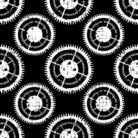 Vector seamless patterns with mechanism of watch. Creative geometric grunge backgrounds with gear wheel. Texture with cracks, ambrosia, scratches, attrition. Graphic illustration. Vektoros illusztráció