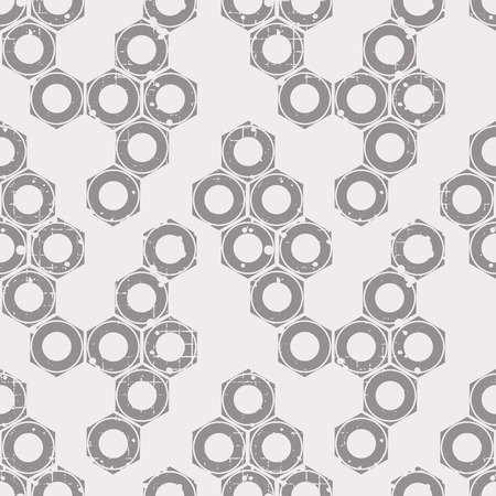 Vector seamless patterns with mechanism of screw nuts. Creative geometric grunge backgrounds. Texture with cracks, ambrosia, scratches, attrition. Graphic illustration.