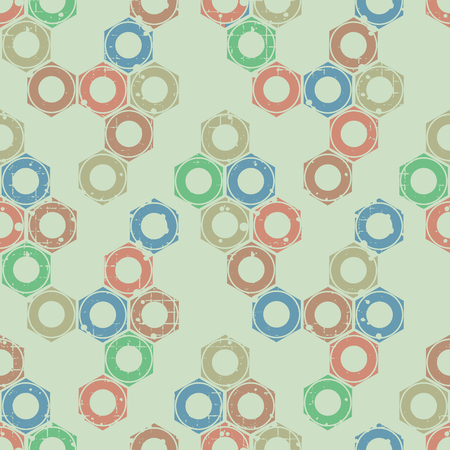 steam iron: Vector seamless patterns with mechanism of screw nuts. Creative geometric grunge backgrounds. Texture with cracks, ambrosia, scratches, attrition. Graphic illustration.