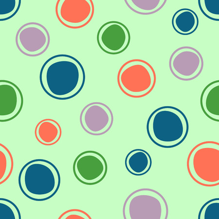 Seamless vector geometrical pattern. Green Endless background with hand drawn circles. Graphic illustration. Print for cover, fabric, wrapping, background.