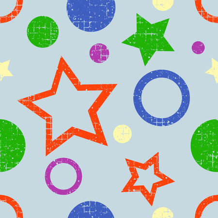 attrition: Seamless vector pattern. geometric background with geometric figures, forms, stars, circles. Grunge texture with attrition, cracks and ambrosia. Old style vintage design. Graphic illustration.