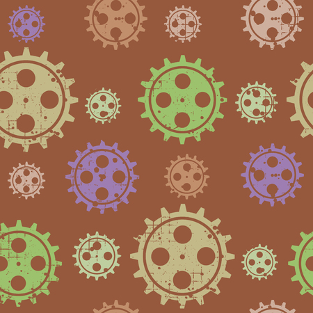 steam iron: Vector seamless patterns with mechanism of watch. Creative geometric grunge backgrounds with gear wheel. Texture with cracks, ambrosia, scratches, attrition. Graphic illustration.