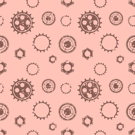Vector seamless patterns with mechanism of watch. Creative geometric grunge backgrounds with gear wheel. Texture with cracks, ambrosia, scratches, attrition. Graphic illustration.