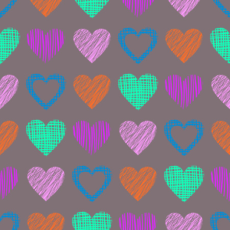 Seamless vector pattern with hearts. endless symmetrical background with hand drawn textured figures. Graphic illustration Grey Template for wrapping, web backgrounds, wallpaper Illustration