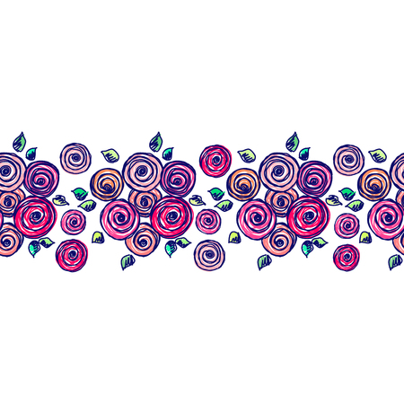 peon: Seamless vector hand drawn floral pattern, endless border Colorful frame with flowers, leaves. Decorative cute graphic line drawing illustration. Print for wrapping, background, fabric, decor, textile, surface