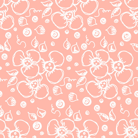 Seamless vector hand drawn floral pattern. Red background with flowers, leaves. Decorative cute graphic line drawing illustration. Print for wrapping, background, fabric, decor, textile, surface