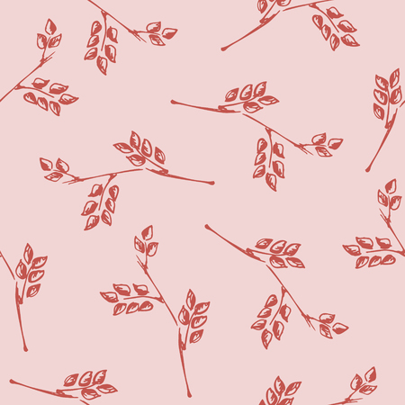 Seamless vector pattern, hand drawn background with branch and leaves. Hand sketch drawing. Doodle style. Series of Hand Drawn Patterns.