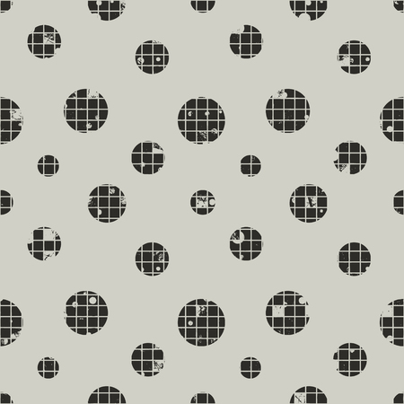 Seamless vector dotted pattern. Grey geometric background with circles. Grunge texture with attrition, cracks and ambrosia, lines, blots, drops. Old style vintage design. Graphic illustration.