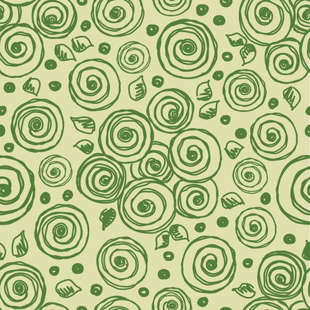 peon: Seamless vector hand drawn floral pattern. Green background with flowers, leaves. Decorative cute graphic line drawing illustration. Print for wrapping, background, fabric, decor, textile, surface