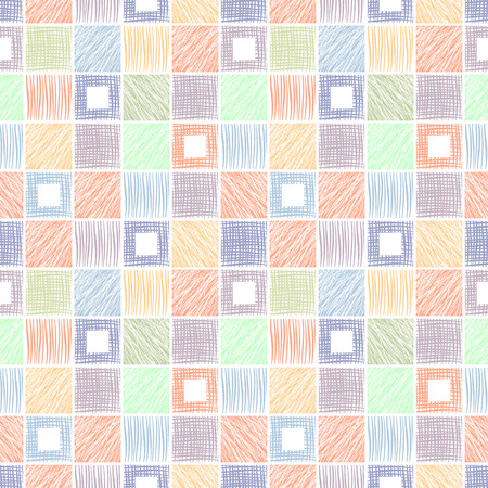 geometrical pattern: Seamless vector geometrical pattern with squares. Colorful background with hand drawn textured geometric figures. Graphic illustration Template for wrapping, web backgrounds, wallpaper, print, surface