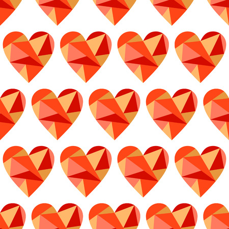 Vector seamless pattern with red abstract hearts on the white background. Polygonal design. Geometric triangular origami style, graphic illustration. Series of Love Seamless Patterns.