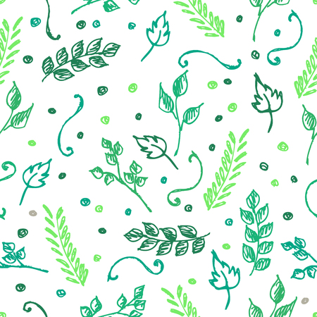 kiddy: Seamless vector pattern, hand drawn background with flowers, branch, leaves, dots. Hand sketch drawing. Doodle funny style. Series of Hand Drawn seamless childish Patterns. Illustration