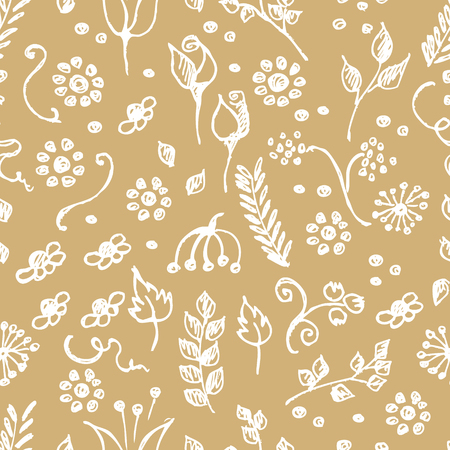 child's: Seamless vector pattern, hand drawn background with flowers, branch, leaves, dots. Hand sketch drawing. Doodle funny style. Series of Hand Drawn seamless childish Patterns. Illustration