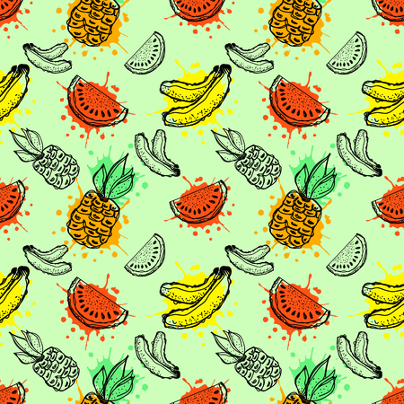 Seamless vector pattern. Hand drawn fruits illustration of banana, pineapple and watermelon with splash and drop, cute background. Line drawing, Series of fruits vector seamless Patterns.
