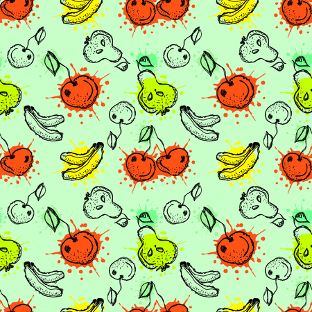 child's: Seamless vector pattern. Hand drawn fruits illustration of colorful cherry, banana, pear, berry, strawberry with splash and drop, cute background. Line drawing,