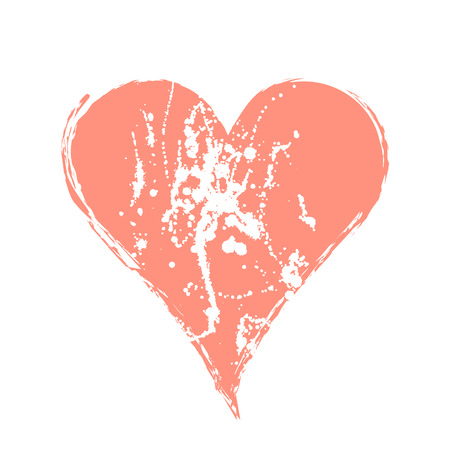 Vector pink graphic grunge illustration of heart sign with ink blot, brush strokes, drops isolated on the white background. Series of artistic illustration with splash, blots and brush strokes.