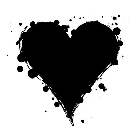 Vector black, white graphic grunge illustration of heart sign with ink blot, brush strokes, drops isolated on the white background. Series of artistic illustration with splash, blots and brush strokes.